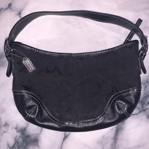"Coach Black Leather Accent ""Hobo"" Style Bag"